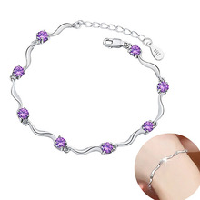 Фотография Women 925 Sterling Silver Plated Crystal Bamboo Chain Bracelet Fashion Jewelry  NEW !