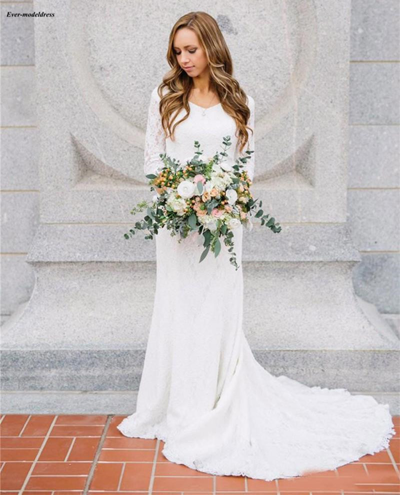 Wedding Gowns 2019 With Sleeves: Simple Lace Beach Wedding Dresses 2019 V Neck Sheath Boho