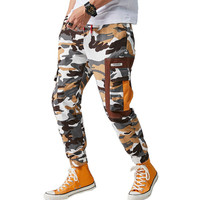 MORUANCLE Men Cargo Hip Hop Pants With Multi Pockets Male Baggy Tactical Camouflage Trousers Joggers Elastic Waist Drawstring