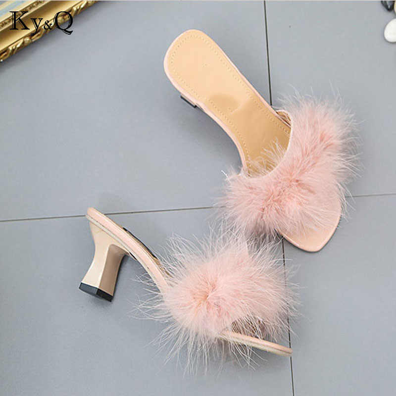 583183724231e4 ... NEW Fur Furry Ostrich Feather Thick Heels Slippers Slides Fashion  Ladies Shoes Flip Flops Sandals Sexy