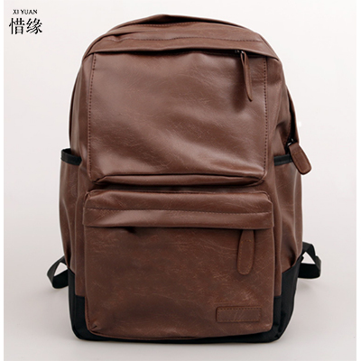 Mens Backpack Black PU Leather Travel brown black grey Bag Men Laptop Backbag Male Leisure High Capacity