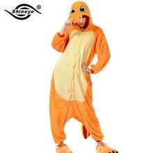 Shineye Fiery Dragon Unisex Adults Flannel Hooded Pajamas Cosplay Cartoon Entero Animal Onesies Sleepwear Home Winter For Couple