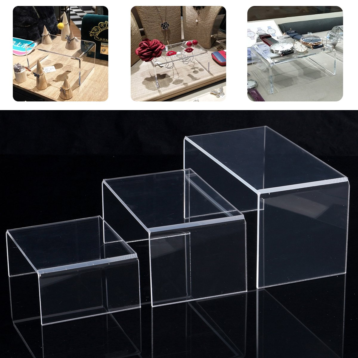3pcs Acrylic Riser Display Shelf Removable Rack Display Stand for Figures