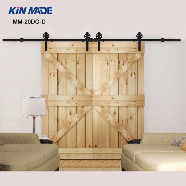 kin fait double panneau vintage style acier industrielle coulissante grange quincaillerie de. Black Bedroom Furniture Sets. Home Design Ideas