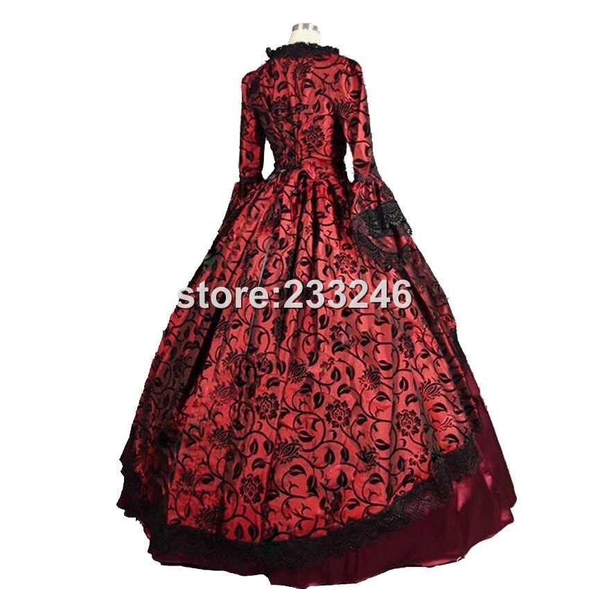 19 Century Period Renaissance Fair Georgian Antique Floral Dress Prom Gown Theater Reenactment Clothing - 3