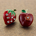 Fashion stud earrings 2014 New fashion and pure and fresh quietly elegant earrings 522 contracted apple strawberry combination