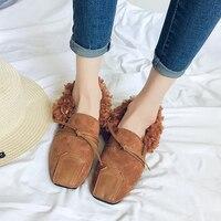 2017 Autumn Women Casual Shoes Fur Flat Shoes Slip On Women Flats Loafers Comfortable Women Flat