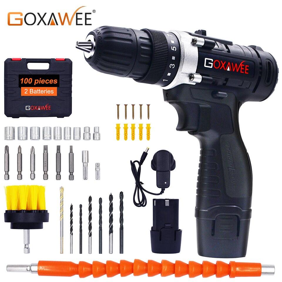 GOXAWEE 12 V deux vitesses tournevis électrique perceuse sans fil Mini sans fil pilote d'alimentation DC batterie Lithium-Ion avec étui de transport