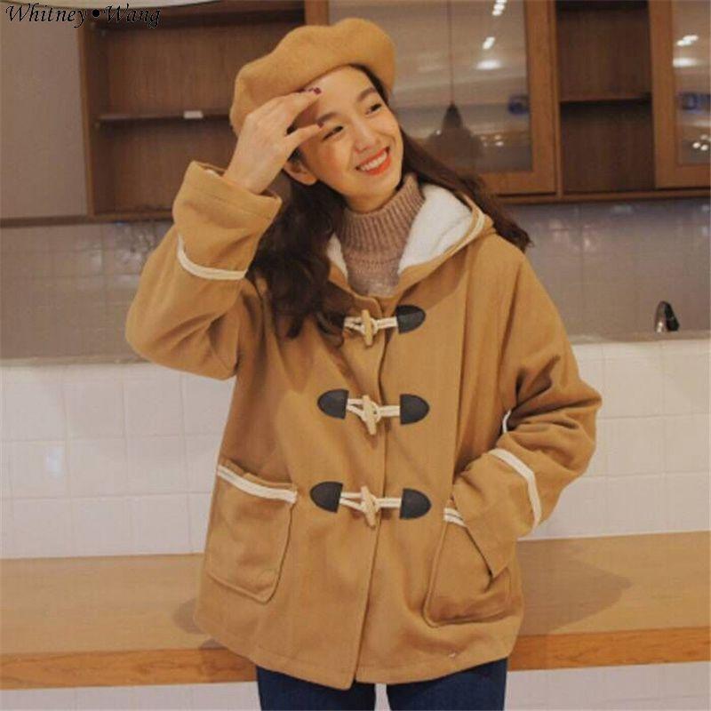 WHITNEY WANG 2018 Autumn Winter Fashion Streetwear Korean Preppy Style Horn Button Blens Wool Coat Women Girls Winter Coat