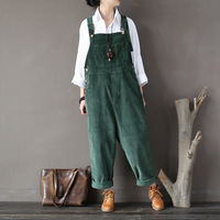 New Cotton Jumpsuits Pocket Rompers Solid color Loose Women Fashion Casual Warm Corduroy Overalls Harlan Jumpsuits