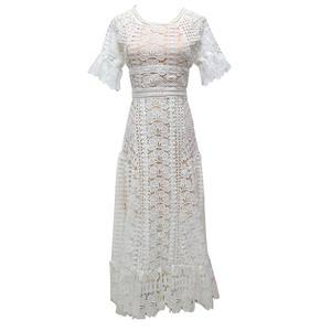 344bfd311c53 2018 summer vintage women hollow white slim dress