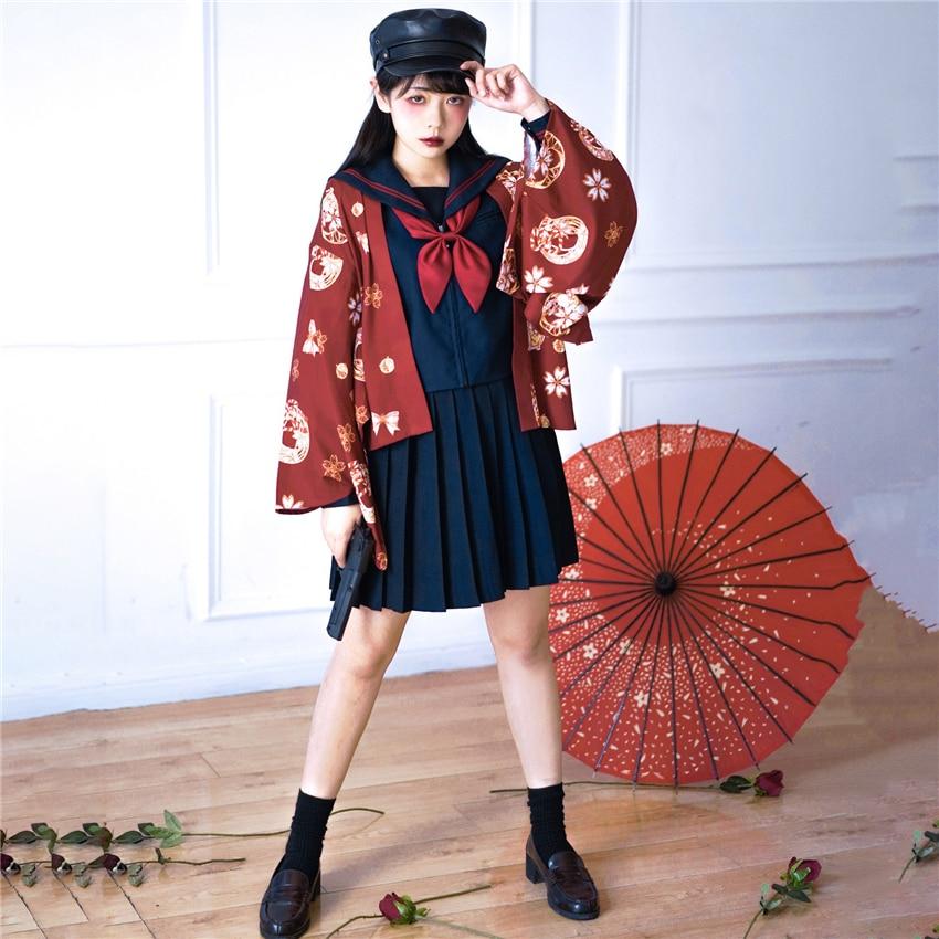 Japanese Style Haori Kimono Dress Bushido Traditional Japan Anime Cosplay School Uniform Yukata Gothic Kawaii Girls Costume
