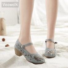 Veowalk zapatos de tacón de bloque para mujer estilo chino Vintage, zapatos de lona informales para disfraz, bordado de algodón, cómodos