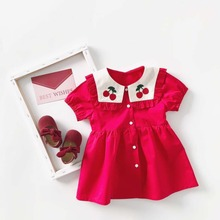Summer Dress Navy Style Baby Girl Dresses Red Cartoon Cherry Vestido Infantil Kids Dresses for Girls princess Party Clothes NEW цена