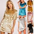 Мода Нового Женщин Бархат Рубашка Платье Знаменитости Свободные A-Line О-Образным Вырезом С Коротким Рукавом Белого Золота Бархат Дамы Повседневные Платья Для Зимы