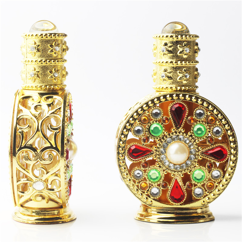 12ml Gold Diamante Retro Antique Hollow Out Glass Perfume Bottle Empty Cosmetic Container Perfume Bottle 2pcslot 15ml cc hollow out copper color middle east essential bottle for oils perfume empty glass bottle for wedding decor