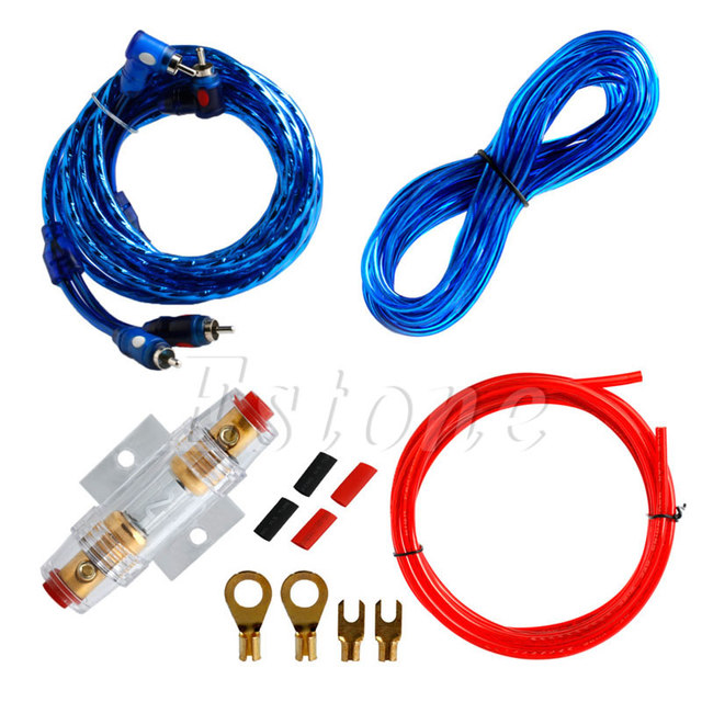 Cheap 1500W 8GA Car Audio Subwoofer Amplifier Wiring Fuse Holder Wire Cable Set Kit Practical Cable Car Electronics Accessorie