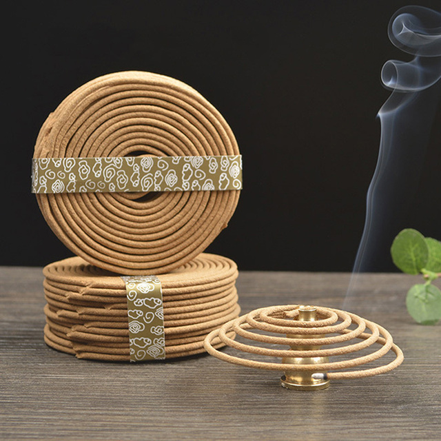 48pcs/box Natural Coil Incense Aromatherapy Fragrance Indoors Indian Buddhist Sandalwood Incense Without Censer