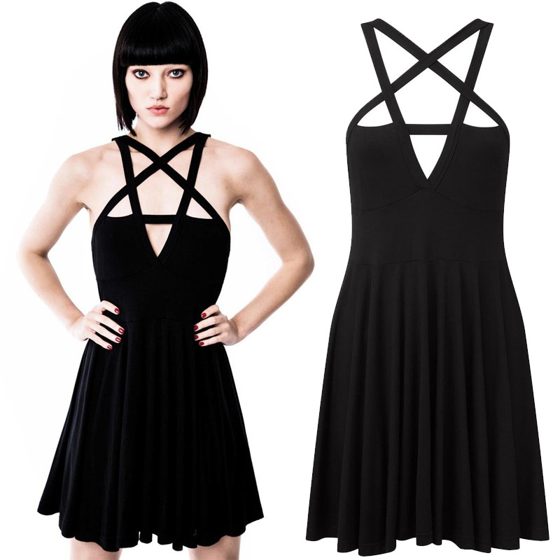 Spring Summer Hot Women Five Star Wrapped Chest Dress Sexy Elegant Solid Color Sleeveless Strap Casual Slim Style Short Dress
