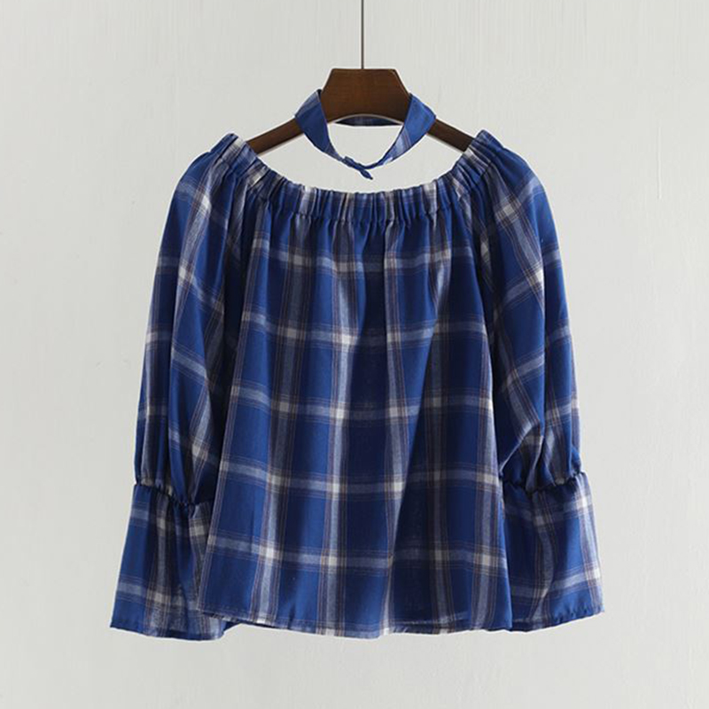 Perhaps U Blue Red Plaid Bib Slash Neck Loose Flare Sleeve Long Sleeve Shirt Spring Summer B0455 To Have A Long Historical Standing Women's Clothing