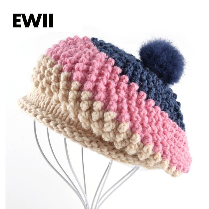 Sombrero de boina de Otoño e Invierno 2017 para mujer de punto boina de lana  gorro 9410d4b46cb