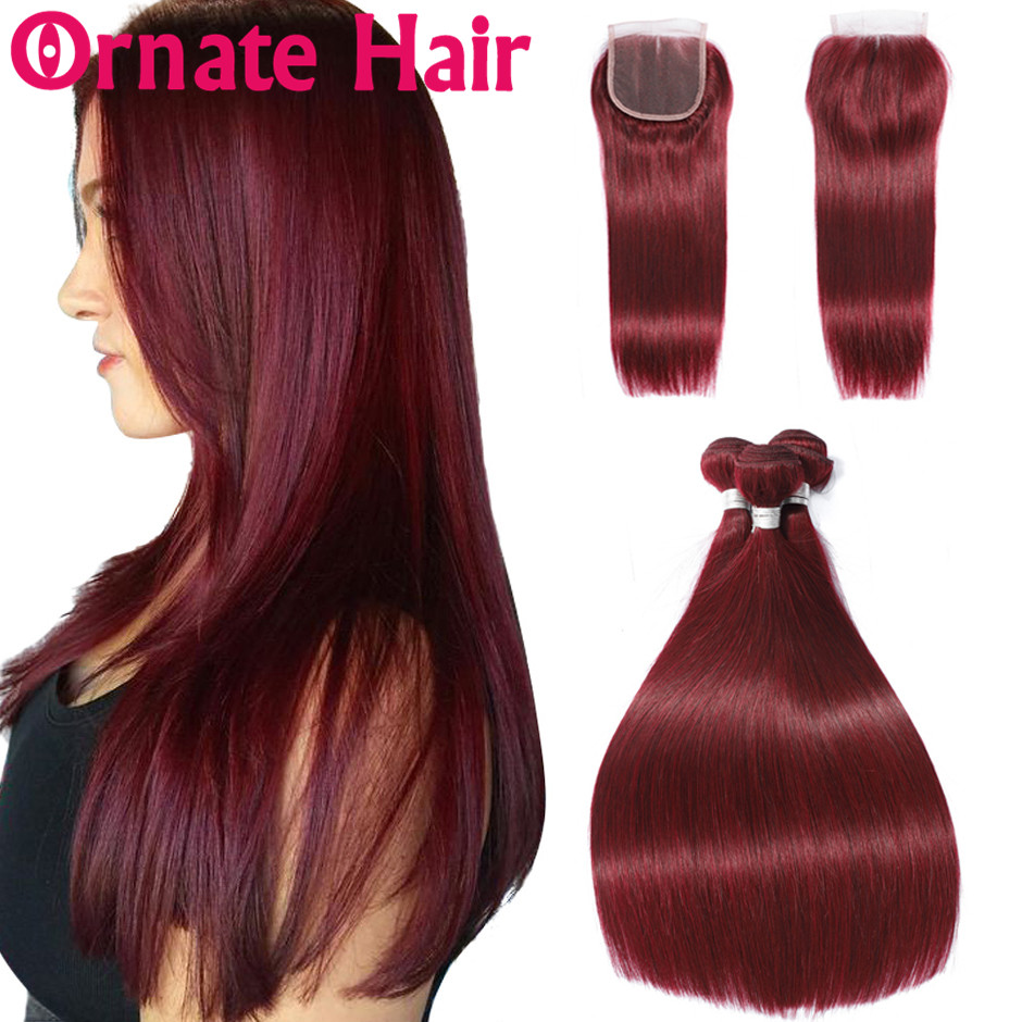 Ornate 99J Burgundy Straight Human Hair Bundle With Closure Peruvian Colored Hair Bundle With Lace Closure