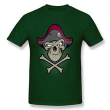 Hipster Skull T-shirt Dead Pirate Tops Men T Shirt Dark Green Fashion Clothing Cotton Fabric Funny Tee Shirts Streetwear Cheap