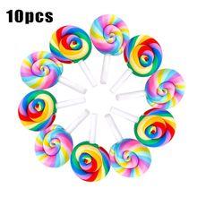 10PCS Mini Rainbow Lollipop Colorful Cream Sugar for Studio Photo Background Photography Props Accessories DIY Decorations