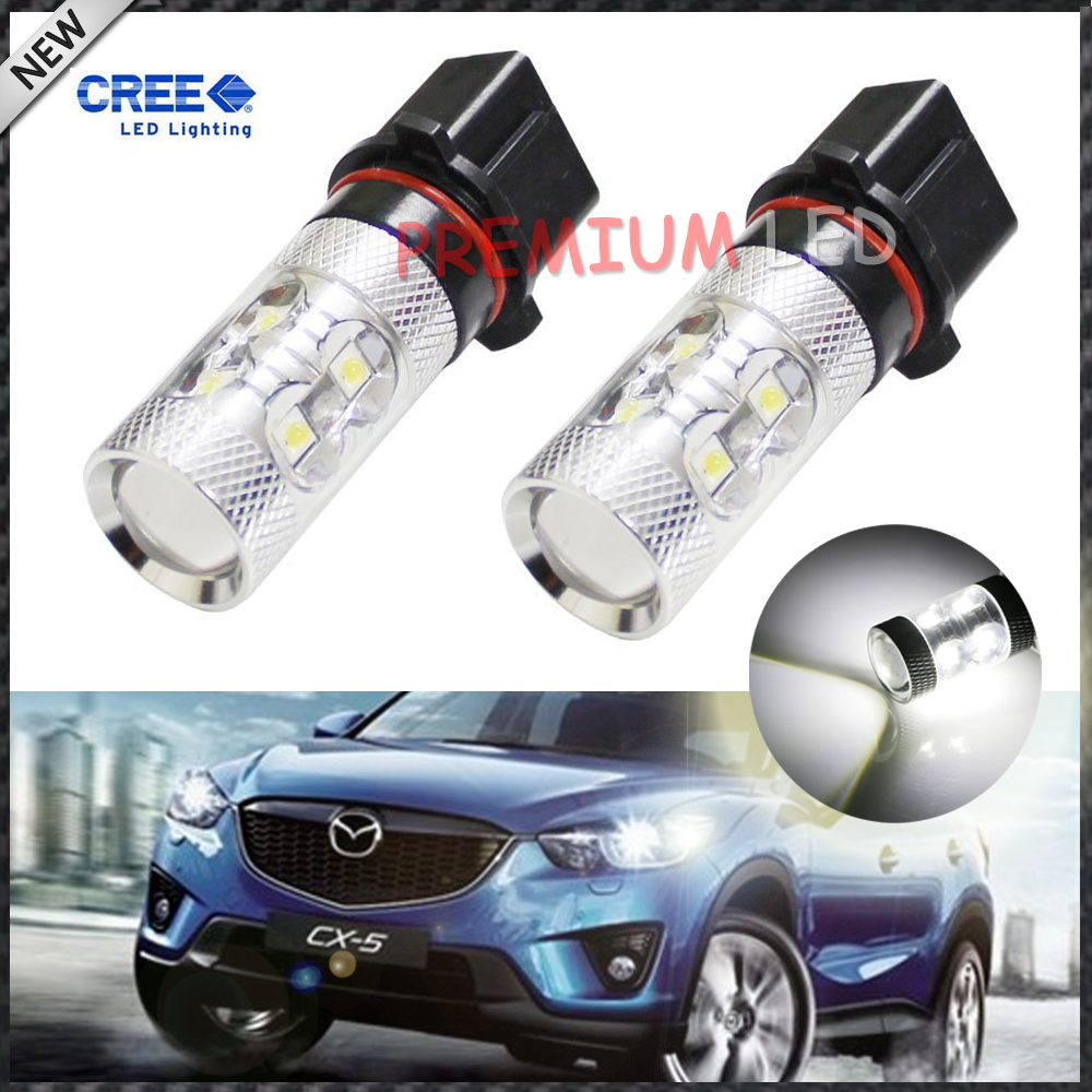 iJDM Error Free Canbus High Power White P13W PSX26W 50W LED Bulbs For car Mazda CX-5 Daytime Running Lights 1w led bulbs high power 1w led lamp pure white warm white 110 120lm 30mil taiwan genesis chip free shipping