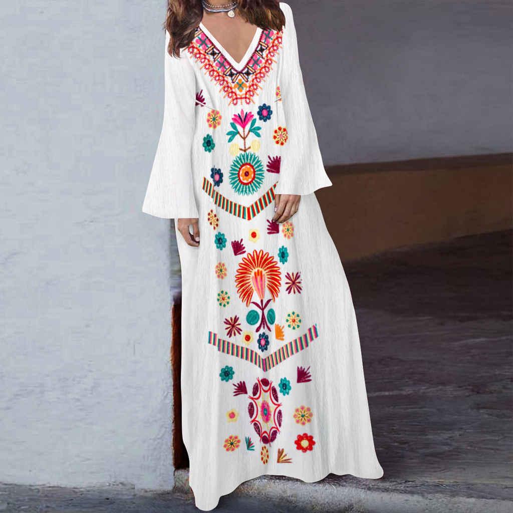 09dad5d8427c9 Women Floral Maxi Dress boho Summer Beach Casual Long Sundress Ladies Long  Sleeve V-Neck Dress Vestidos