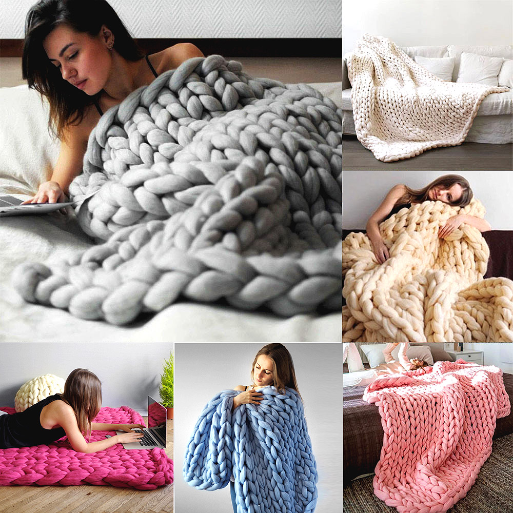 adult merino wool chunky giant large big knit blanket soft warm Yarn knitted crochet Handmade bed home throw blanket 200