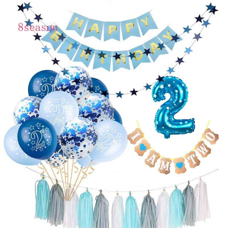 8 сезонов, 15 шт., синие, розовые, 2 дня рождения, конфетти, воздушные шары для мальчиков и девочек, I AM TWO Happy, 2 года, украшения для дня рождения, Де...