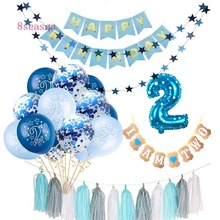8SEASON 15pcs Blue Pink 2st Birthday Confetti Balloons Boy Girl I AM TWO Happy 2 Years Party Decorations Kids Favors