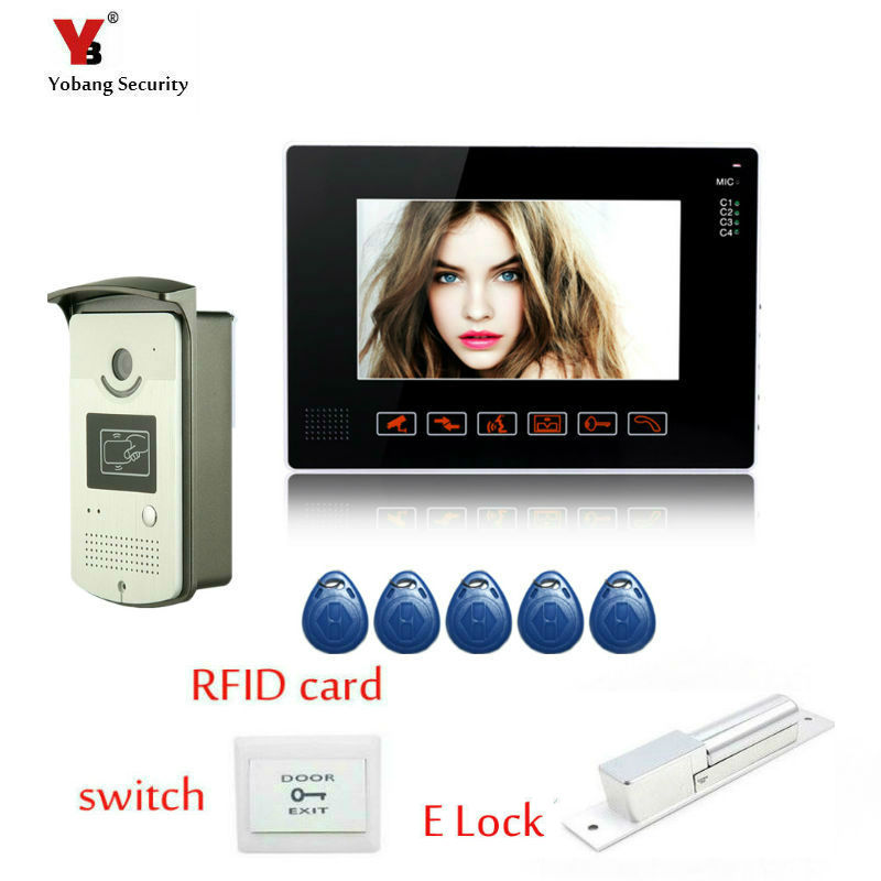 Yobang Security 9 LCD White Monitor Video Intercom Door bell Phone System RFID  Unlock Outdoor Camera + Electric Lock yobang security video doorphone camera outdoor doorphone camera lcd monitor video door phone door intercom system doorbell