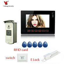 Yobang Security 9″ LCD White Monitor Video Intercom Door bell Phone System RFID  Unlock Outdoor Camera + Electric Lock
