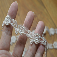 Free shipping 1.5CM(16m/lot)brown flower water soluble Hight quality lace fabrics embroidered lace trim-16112710