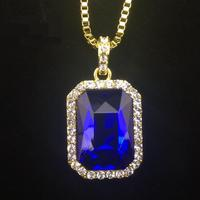 Iftec New Mens Bling Rhinestone Pendant Necklace 24 30 Box Chain Gold Color Iced Out Crystal