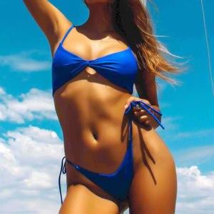 30edc86922919 Female Push Up Bathing Suit Bright Red Bikini Set 2018 Women Solid Bowknot  Bikini