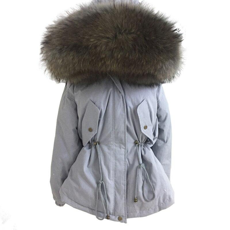 Schinteon invierno mujer cálida chaqueta con gran 100% Real Natural piel de mapache cuello capucha abrigo grueso cintura ajustable-in Plumíferos from Ropa de mujer    2