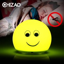 Купить с кэшбэком CHIZAO Soft Silicone Breathing LED Night Light 3 Modes Mosquito repellent lamp USB Charging or Battery Children Animal Lamp