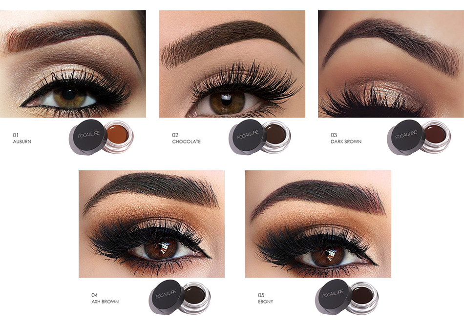 Focallure 5 Colors Eye Brow Cream No Shading Eyebrow Eyeliner Pomade