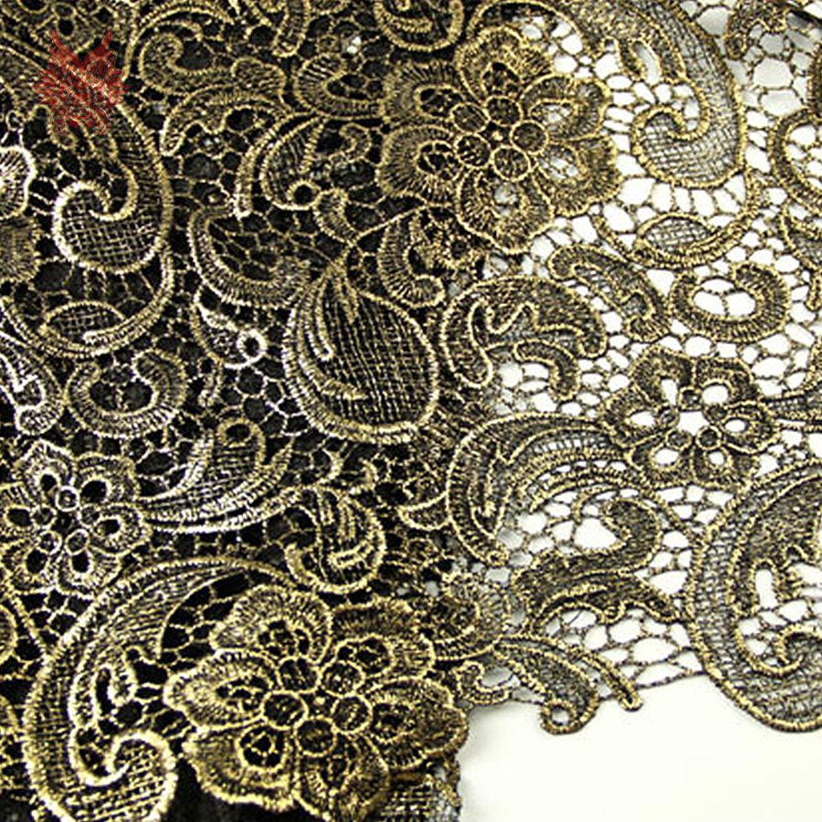 Designer gold silver bronzing floral embroidery guipure lace fabric for dress lace fabric for sewing tela free shipping SP3306