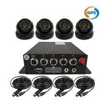 4CH SD GPS Track Car Vehicle DVR Video Recorder MDVR System 7″ LCD Night Vision Mini Dome Camera For Truck Van Bus Free Shipping