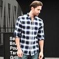 Ropa de Algodón a Cuadros Camisa a cuadros Hombres Camisa Casual Slim Fit Sociales Inglaterra Estilo de la Escuela de Manga Larga