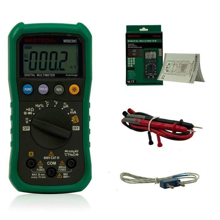 Mastech MS8239C Auto range Handheld Digital Multimeter, AC DC Voltage Current Capacitance Frequency Temperature Tester,HOT  цены