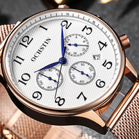 OCHSTIN Men Watch Sport Watch Chronograph Watch Men Luxury Rose Gold Mesh Stainless Steel wristwatch Military Slim Quartz Watch