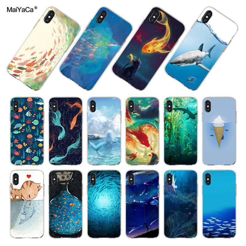 MaiYaCa Fluorescens fisk leger i vandet Soft Cell Phone Cover til iPhone x xs max xr 8 8plus 5s 6s 7 7plus 11pro max taske