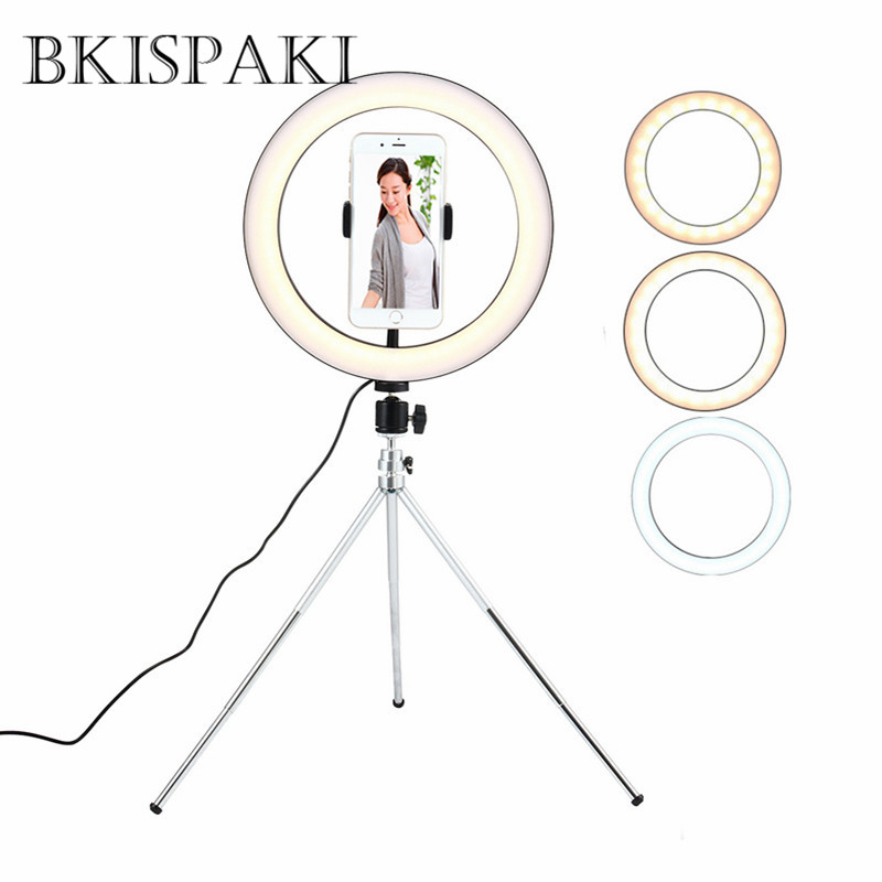 Portable Selfie Video Ring Light Dimmable LED Photo Studio Camera Phone Photography Enhancing with Phone Holder USB Ringlights