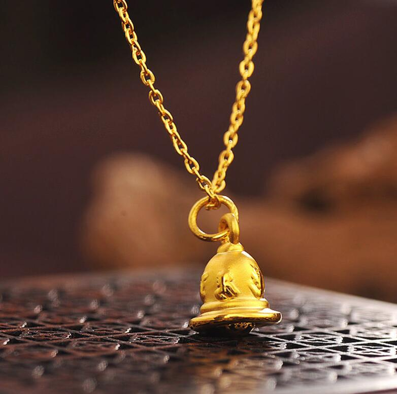 Pure 24K Yellow Gold Pendant Women Lucky Six-word mantra Bell 1.1g