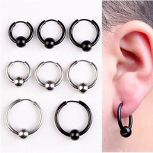 Hot Fashion Women Men Round Balls Circle Pendientes Silver Black Titanium Steel Charms Loop Handles Hoop Huggie Earrings Jewelry